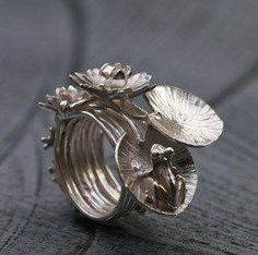 """Ring by Aline Kokinopoulos. """"The dream of the frog"""". Sterling silver"""