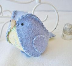 Small felt and fabric bird Periwinkle by BlossomHill on Etsy, $10.00