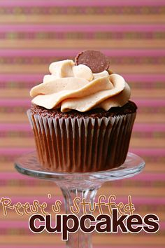 Chocolate cupcake stuffed with a Reese's Cup, iced with Peanut Butter Buttercream & topped with a Reese's Mini.