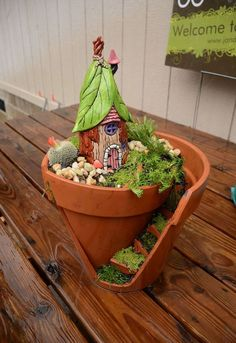 broken pot fairy garden, container gardening, crafts, diy, gardening