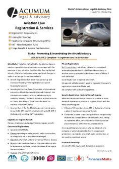 Malta - Aviation Registration Fact Sheet Acumum Legal & Advisory by Acumum Legal & Advisory via slideshare