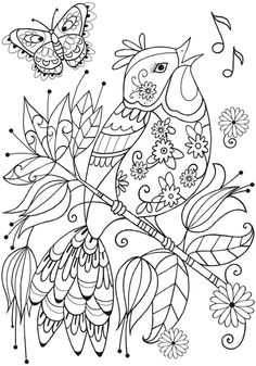 Ideas For Bird Crafts For Adults Dover Publications Adult Coloring Pages, Cute Coloring Pages, Flower Coloring Pages, Mandala Coloring Pages, Animal Coloring Pages, Coloring Pages To Print, Printable Coloring Pages, Free Coloring, Coloring Sheets