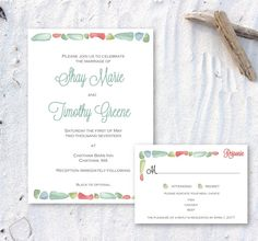 Printable Nautical Seaglass Invitation by ChirpPaperie on Etsy