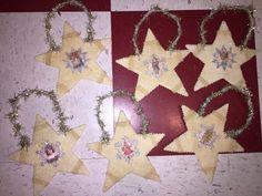 Shabby Christmas Chic Pink Glitter Snowflake Ornaments Decoration Old World 6    eBay