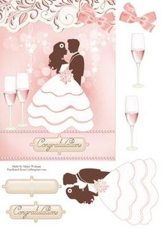 Blushing Bride on Craftsuprint designed by Marie Wolman - This is for an A5 card. Easy step by step decoupage featuring a bride and groom on a soft pink background highlighted with champagne, white lights and a border. - Now available for download!