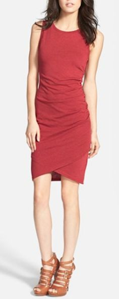 cute ruched red dress
