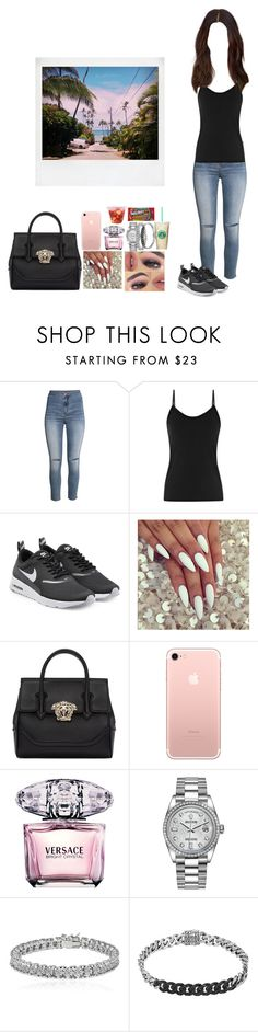 """""""S I M P E L"""" by mija-lee ❤ liked on Polyvore featuring H&M, NIKE, Versace, Rolex, Apples & Figs and John Hardy"""