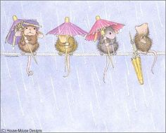 """""""Mudpie, Maxwell, Muzzy and Amanda"""" from House-Mouse Designs® -- We love the rain, we like to use our umbrellas! But Muzzy likes to close his up. Open his mouth and take a drink. (We think he has a """"missing link""""! Beatrix Potter, House Mouse Stamps, Mouse Pictures, Mouse Color, Decoupage, Cute Mouse, Tatty Teddy, Penny Black, Whimsical Art"""