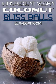 These coconut bliss balls contain only 3 simple ingredients! This easy to make recipe is vegan, glut Raw Vegan Desserts, Vegan Sweets, Healthy Sweets, Vegan Snacks, Healthy Snacks, Lchf, Keto, Paleo, Vegan Energy Balls