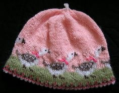 Ravelry: Olga-the-goose hat pattern by Christine de Savoie Baby Hat Knitting Pattern, Baby Hat Patterns, Baby Hats Knitting, Fair Isle Knitting, Loom Knitting, Knitting Stitches, Knitting Designs, Knitting Projects, Knitted Hats