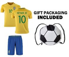 9955ec400 Amazon.com   Fan Kitbag Men s Neymar Jr  10 Brazil Home Away Adult Soccer  Jersey   Shorts Kids Premium Gift Kitbag ✮ BONUS GIFT PACKAGING Soccer  Backpack ...