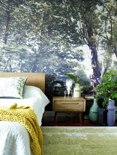 Forest wallpaper by Tessa Volker, from Design Currency. Great for a bedroom makeover!