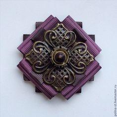 """Брошь-орден """"Сказочный цветок"""" - коричневый,сиреневый,бронза,винтаж,винтажный стиль"""