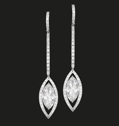 Marquise D IF Diamond Earrings   Perfectly matched twin marquise diamonds, elegantly framed with baguette diamonds, set in white gold.   Marquise diamonds 11.24 cts  #houseoftabbah #tabbah