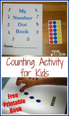 Counting activity for kids (toddler, preschool) with free printable number book