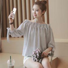 5e417bdaff3a08 Korean Summer Fashion Women Boat Collar Half Sleeved Chiffon Striped Shirt  Tops