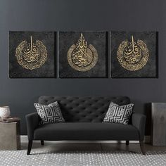 Luxurious Set of 3 islamic Wall Art canvas perfect for oriental Home Decor # classic Home Decor Splendid Set of 3 islamic Wall Art frame ideal for oriental luxury Home Decor