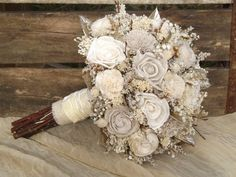 Rustic Woodland Twig and Sola Flower Bride Bouquet with Champagne Accents Made to Order by treasuredflorals on Etsy https://www.etsy.com/listing/169640565/rustic-woodland-twig-and-sola-flower