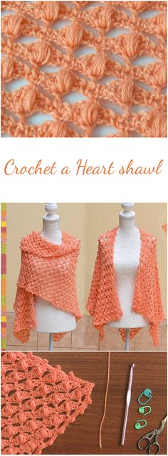 Heart Shawl - Crochet by following this amazing tutorial!