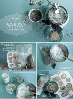 DIY Gifts Ideas for Women ~ 19 Great DIY Ideas for Homemade Cosmetics- Lavender bath salts Diy Cosmetic, Lavender Bath Salts, Lush Bath, Sephora, Homemade Cosmetics, Diy Spa, Homemade Beauty Products, Printing Labels, Beauty Recipe