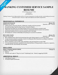 images about resumes on pinterest   resume  resume examples    banking customer service resume