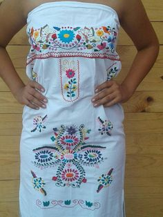 Strapless Mexican hand Embroidered dress girl size
