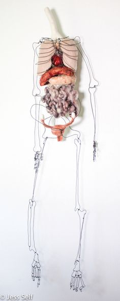 Mixed Media Sculpture ~ Needle Felted Anatomical Organs ~ Handmade Wire Skeleton ~ Female Anatomy ~ Wall Art by HeartFeltSelfMade on Etsy https://www.etsy.com/listing/241204802/mixed-media-sculpture-needle-felted