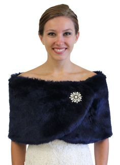 Wedding Faux Fur Wrap Navy Blue 306NF-NBLUE by TionDesign on Etsy