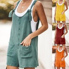 Striped Solid Color Cotton Romper with Pocket – Pink-Always Rompers Women, Jumpsuits For Women, Diy Camisa, Diy Romper, Boho Fashion, Fashion Outfits, Sexy Pajamas, Luanna, Sunflower Print