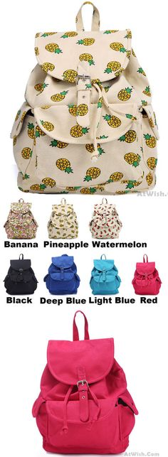 Which color do you like?Cute Girl's Canvas Fruits Printing Banana Pineapple Watermelon School Backpack #cute #canvas #banana #pineapple #watermelon #school #backpack #Bag #college #student #school #rucksack #travel #cute