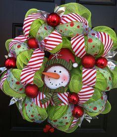 Christmas deco mesh wreath. $60.00, via Etsy.