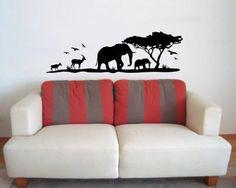 Afrika Wandtattoo Elefanten. Afrika Wandtattoo mit Elefanten und Gazellen ab 50cm Africa Walltattoo, Africa Wallsticker