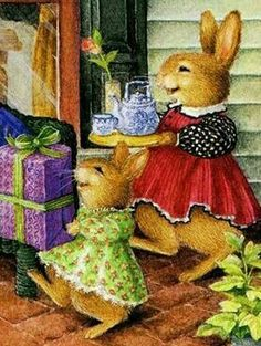 Bunny children bring Mama her Mother's Day gifts! Susan Wheeler, Beatrix Potter, Bunny Painting, Bunny Art, Arte Popular, Woodland Creatures, A Christmas Story, Cute Illustration, Cool Artwork