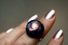 Cosmic Galaxy ring, Hubble M101 spiral galaxy Stardust Ring Modern Resin Space Exploration Jewelry Out of this World Fashion Statement by isewcute
