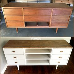 1960s MidCentury Dresser re-purposed into a TV console! #MidCentury #1960 #DIY