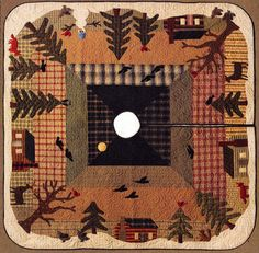 "Cabin in Trees Christmas Tree Skirt Pattern -  ""Woodland Tree Skirt"" Wool Applique Pattern - Cabin Snowman Woods and Wildlife #TT 10022"