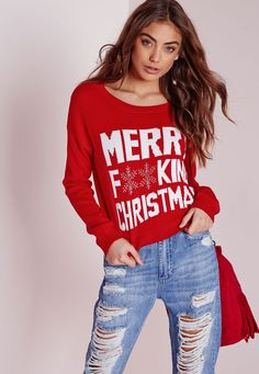 Missguided - Merry Christmas Cropped Jumper Red