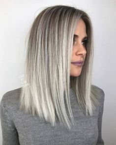 silver blonde balayage on darker hair and medium length is a hot idea to rock this year Short Straight Hair, Straight Hairstyles, Simple Hairstyles, Long Bob Hairstyles, Hair Inspo, Hair Inspiration, Brown Blonde Hair, Gray Hair, Blonde Hair Long Bob