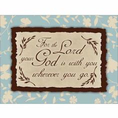 God Is with You Vintage Cottage Floral Religious Painting Blue & Brown Canvas Art by Pied Piper Creative