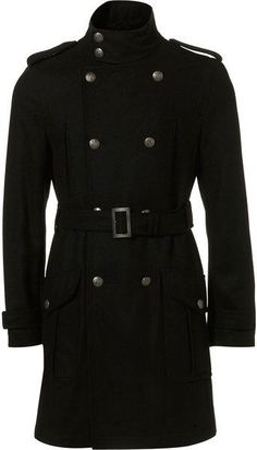 Topman Wool Military Trench Coat in Black for Men - Lyst Mens Long Overcoat, Man's Overcoat, Military Trench Coat, Trench Coat Men, Military Coats, Military Fashion, Mens Fashion, Military Apparel, Fashion Boots