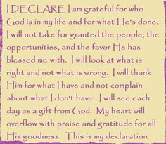 I DECLARE I am grateful for who God is in my life... Day #5 of I DECLARE: 31 Promises to Speak Over Your Life by Joel Osteen