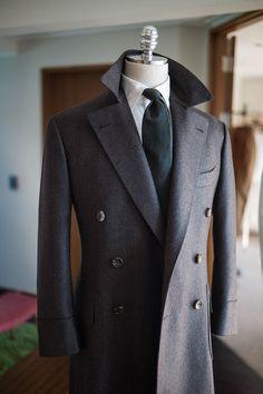 B&TAILOR — Wide herringbone brown polo coat
