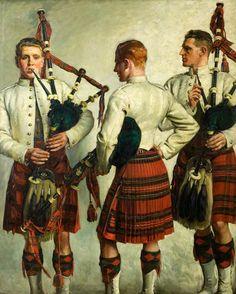 Pipe Practice, William Bruce Ellis Ranken, 1918, oil.
