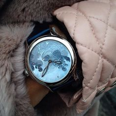 Mother of pearl on the handsome Laurent Ferrier Lady F dial. The timepiece add an elegant and feminine touch to any woman wrist!