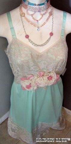 Vintage slip dress in mint green with cream and by BridgetBlue, $64.00