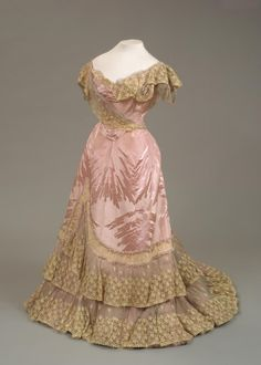 Lace Trimmed Silk Woven Moire Evening Gown, 1898 Worn by Empress Maria Fyodorovna