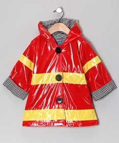 Splishin' and splashin' on a rainy day is much more fun with a fireman's raincoat like this one with its authentic colors and big easy buttons. There may never be another cat stuck in a neighborhood tree again. Mud Pie Clothing, Little People, Stylish Dresses, Baby Kids, Rain Jacket, Infant, Windbreaker, Raincoat, Cute Outfits