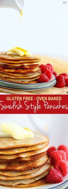 Swedish pancakes! In the oven! All you have to do is blend ingredients, pour, bake, flip, and bake again! I made these gluten free Swedish pancakes a little healthier with less sugar and yogurt vs butter. This recipe allows you to make more panackes at once with little mess. @cottercrunch