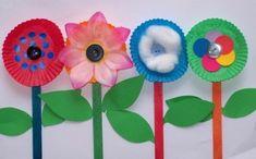 Preschool Crafts for Kids*: Top 20 Spring Flower Crafts Kids Crafts, Easy Arts And Crafts, Spring Crafts For Kids, Summer Crafts, Toddler Crafts, Art For Kids, Creative Crafts, Creative Kids, Cupcake Liner Flowers