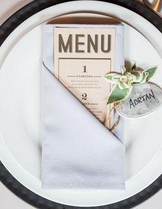Styled Shoot: Chic Industrial Wedding Reception Ideas from Weddingstar - wedding menu card idea